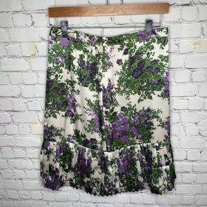 Ann Taylor Floral Skirt Lined Pleated Bottom Sz 4